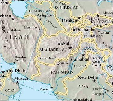 Map of Region around Afghanistan