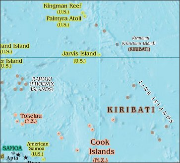 Map of Region around Jarvis Island